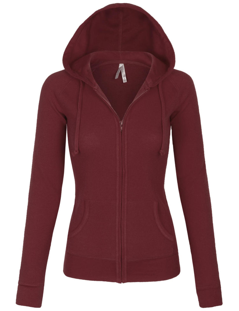 Womens Solid Casual Basic Zip Up Hoodie Jacket