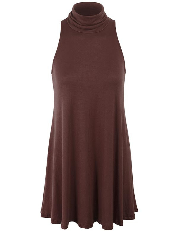 Sleeveless Turtleneck Long Hemline Tunic