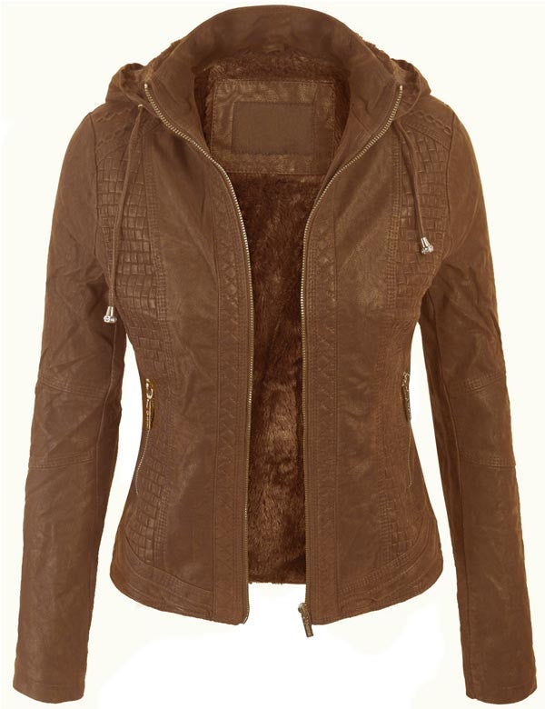 Suede PU Leather Zip Up Hoodie Bomber Jacket with Removable Hood