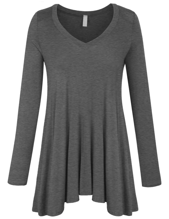 Long Sleeve V Neck Flattering Comfortable Fit Tunic Top