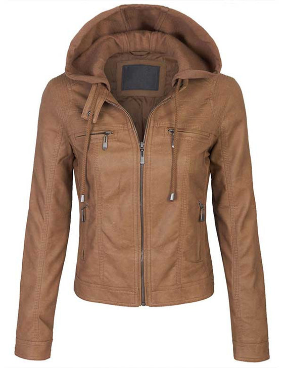 VeganLeather Zip Up Bomber PU Jacket with Fleece Hoodie