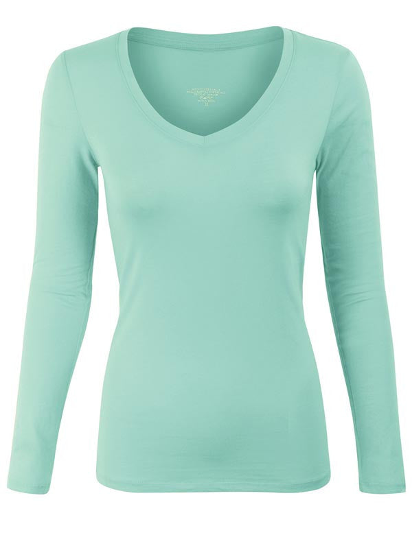 Plain Basic Long Sleeve V Neck T-Shirt