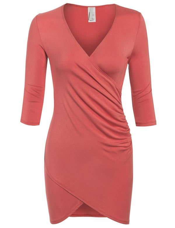 3/4 Sleeve Front Wrap Ruched Shirred Slim Fit Mini Dress