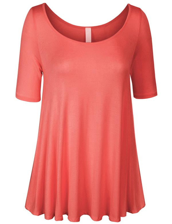Short Sleeve Scoop Neck Loose Fit Basic Knit Tunic Top