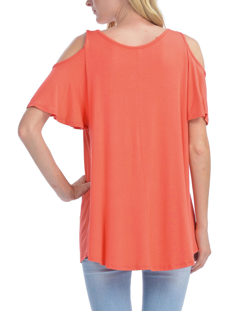 Cold Shoulder Short Ruffle Sleeve Tunic Top