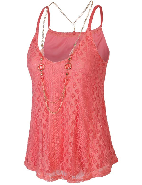 Lace Tank Top With Full Lining & Necklace