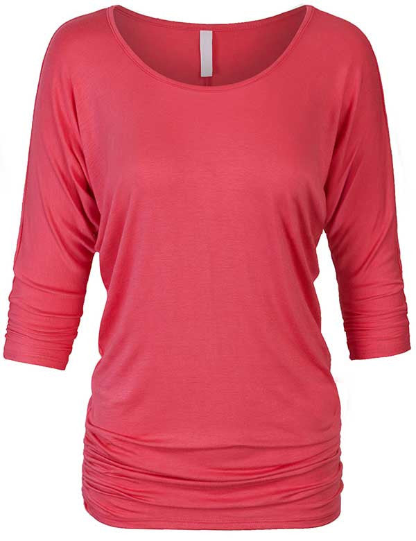 3/4 Dolman Sleeve Drape Top with Side Shirring
