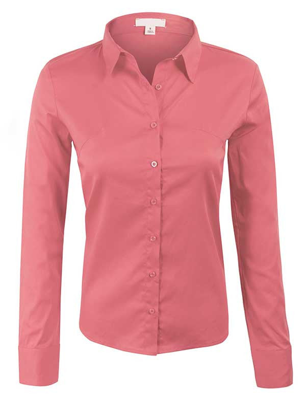 Classic Long Sleeve Simple Solid Color Button Down Blouse