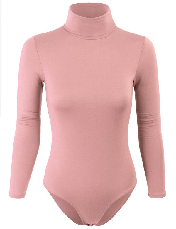Turtleneck Bodysuit with Snap Button Closure