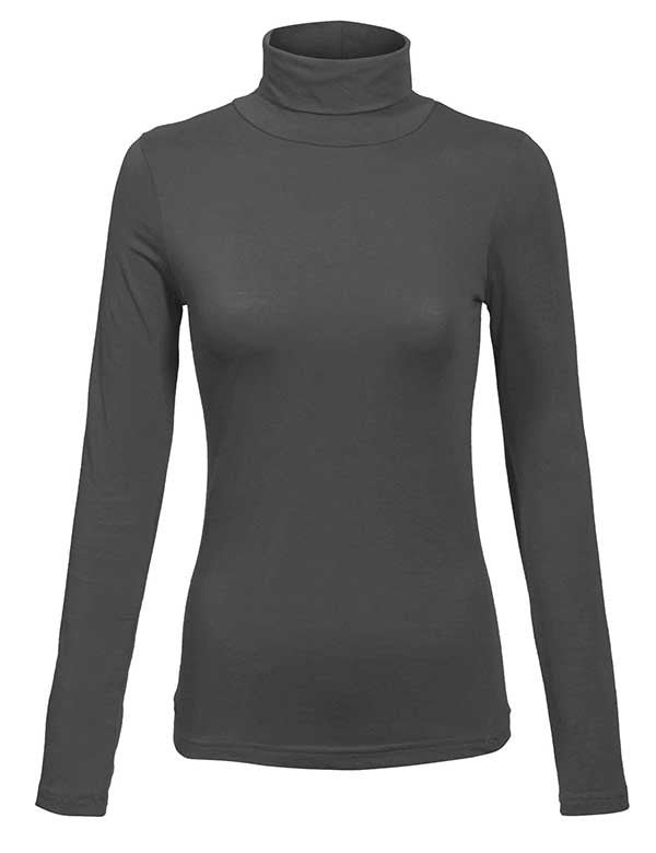 Turtleneck Long Sleeve Basic Solid Fitted Shirt with Stretch (95% COTTON / 5% SPANDEX)