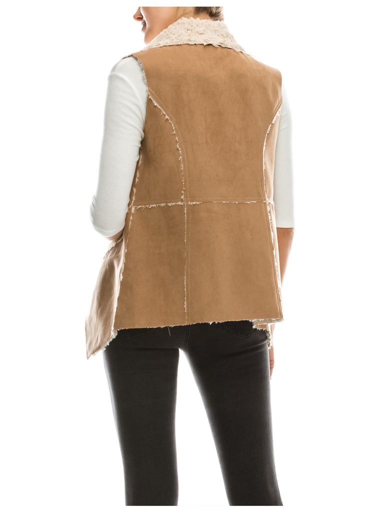[Clearance] Womens Classic Faux Fur Shearing Fully Lined Suede Vest Coat