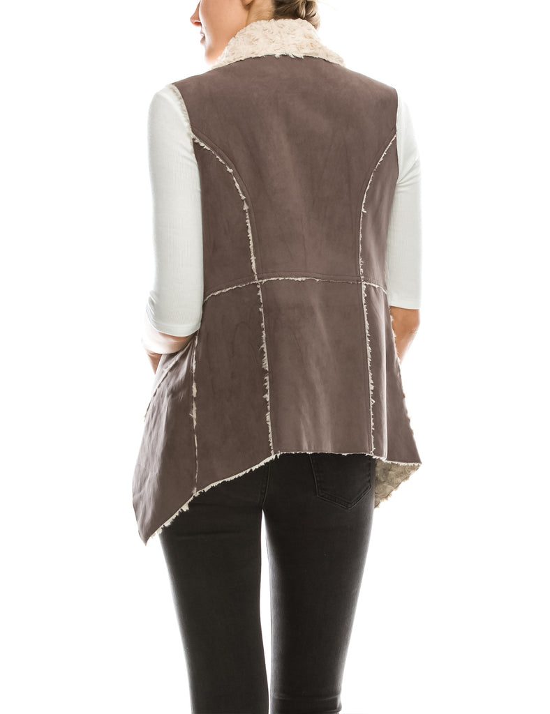 Womens Classic Faux Fur Shearing Fully Lined Suede Vest Coat