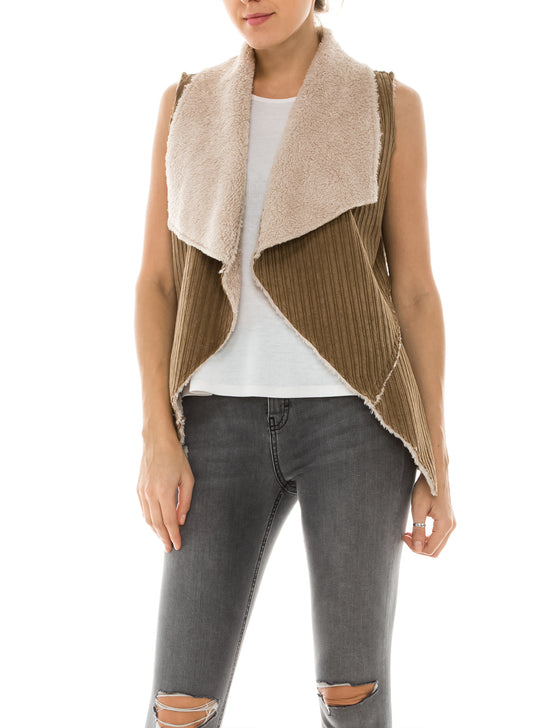 Womens Faux Fur Shearing Fully Lined Suede Vest Coat with Stripe Textured