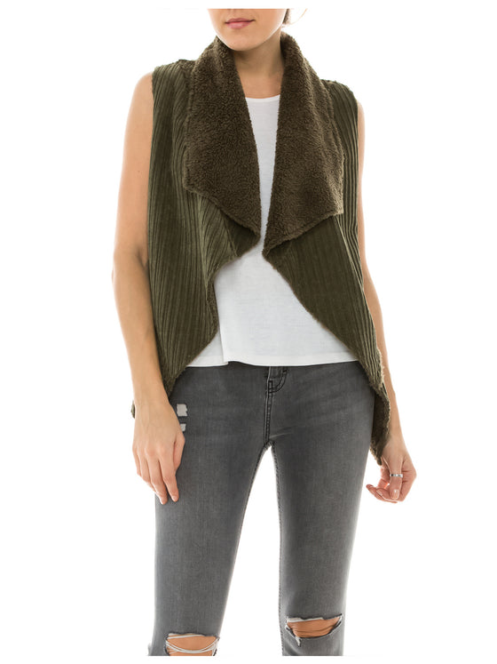 [Clearance] Womens Faux Fur Shearing Fully Lined Suede Vest Coat with Stripe Textured