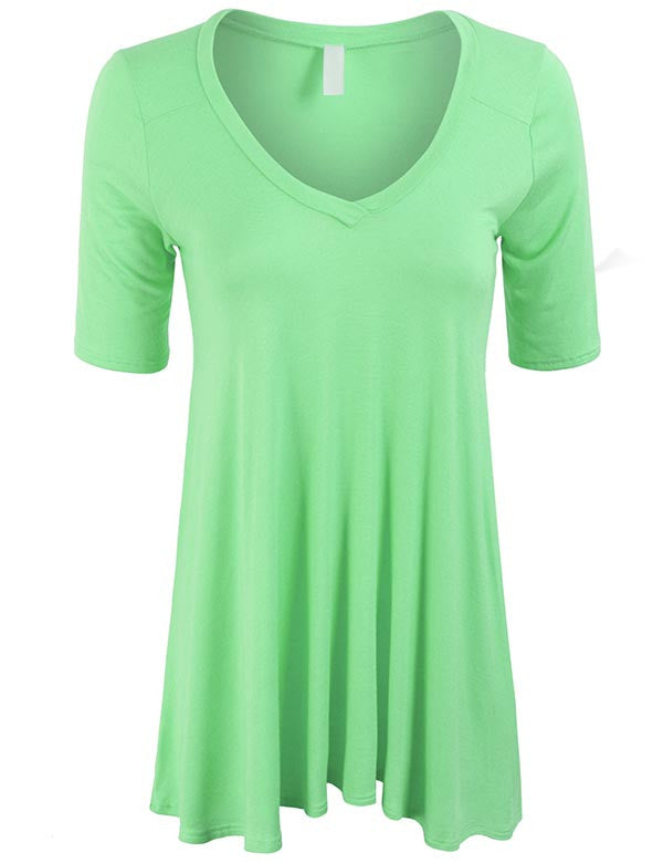 Short Sleeve V Neck Loose Fit Basic Knit Tunic Top Plus Size