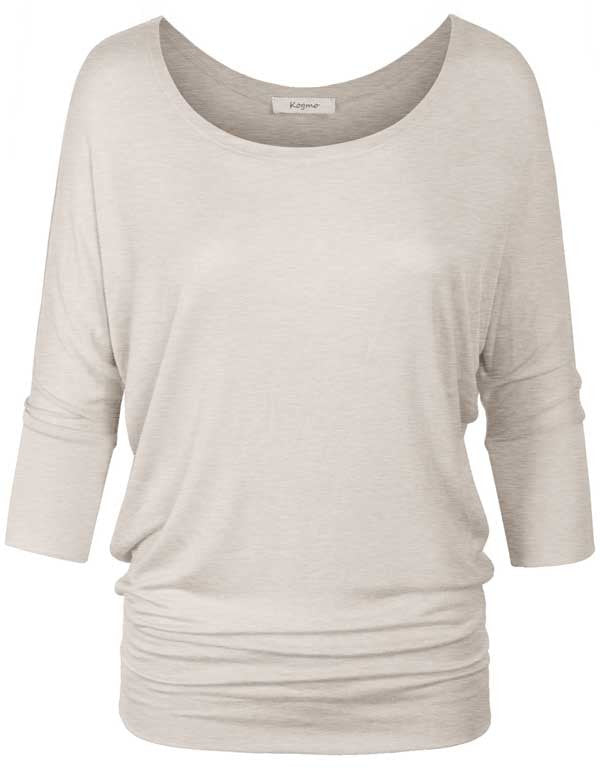 3/4 Sleeve Dolman Casual Loose Fit Drape Top T-Shirt (S-3X)