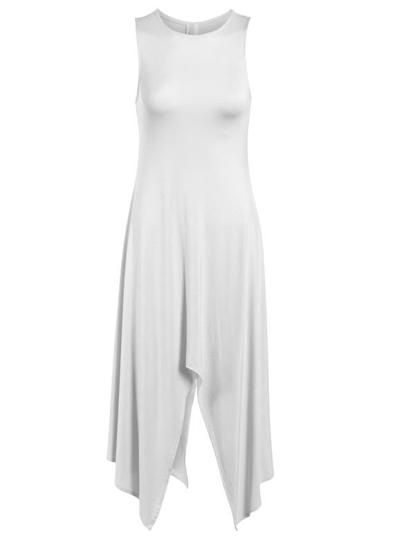 Round Neck Sleeveless Relaxed Fit Draped Maxi Dress