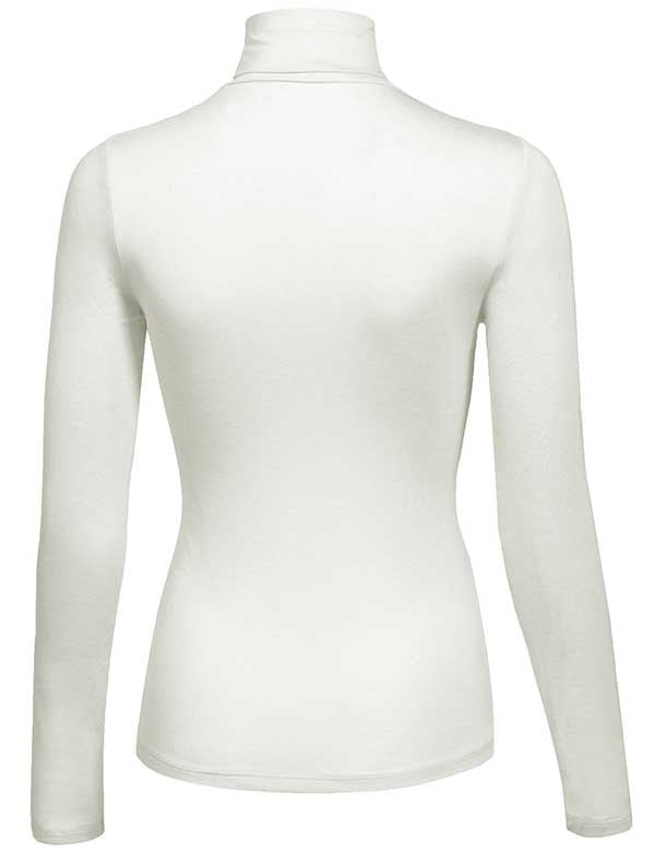 Turtleneck Long Sleeve Basic Solid Fitted Shirt with Stretch (95% COTTON/ 5% POLYESTER)
