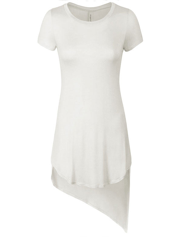 Short Sleeve Handkerchief Hemline Long Flare Tunic Top