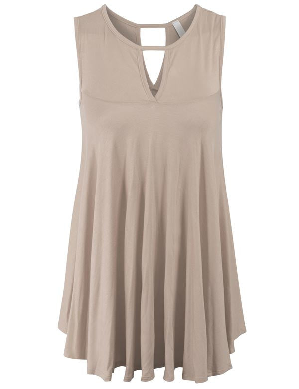 Sleeveless Tunic Tank Top with Key Holes