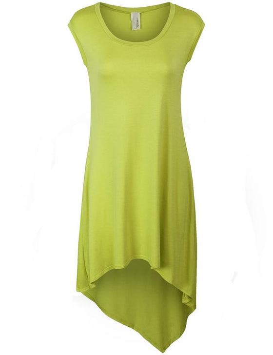 Sleeveless Handkerchief Hem Jersey Tunic Dress with Pockets