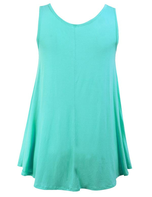 Sleeveless Tank Tunic Top with Flare Hemline