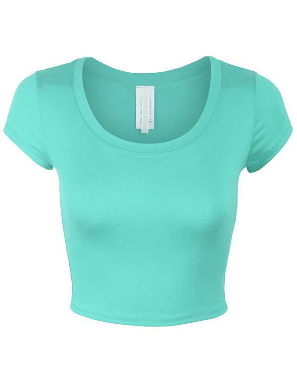 Short Sleeve Crop Top Solid Round Neck T Shirt