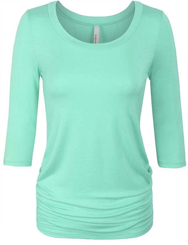 3/4 Sleeve Basic Top with Side Shirring