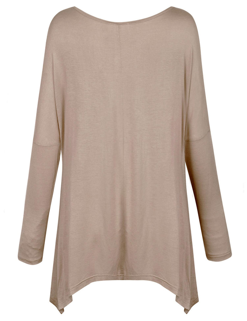 Long Sleeve Loose Fit Bow Hemline Dolman Tunic Top Tee