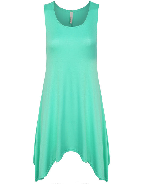 Solid Sleeveless Shark Bite Loose Fit Trapeze Tunic Long Tank Top
