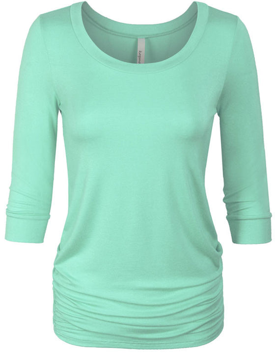 3/4 Sleeve Solid Basic Drape Top Side Shirring Tunic