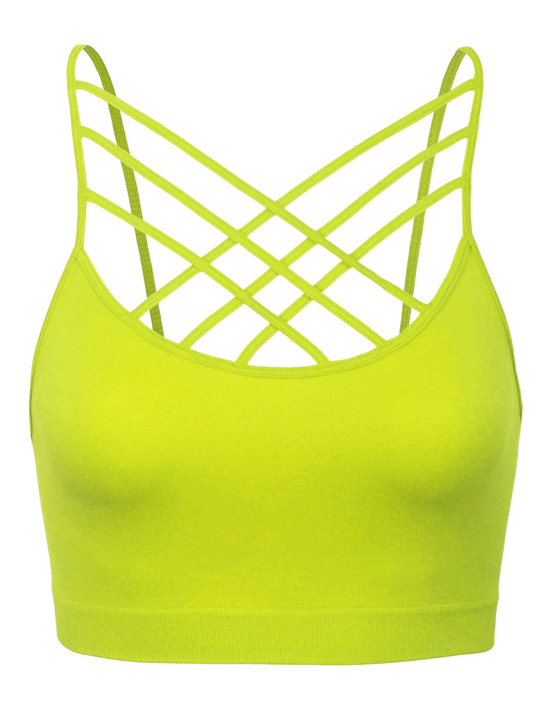Women's Lightweight Seamless Triple Criss-Cross Front Bralette (No Pad)