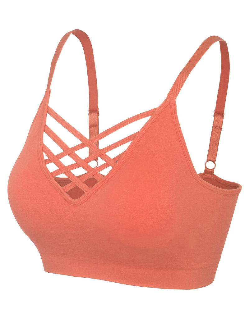 Women's Front V-Lattice Bralette with Adjustable Straps and Removable Bra Pads