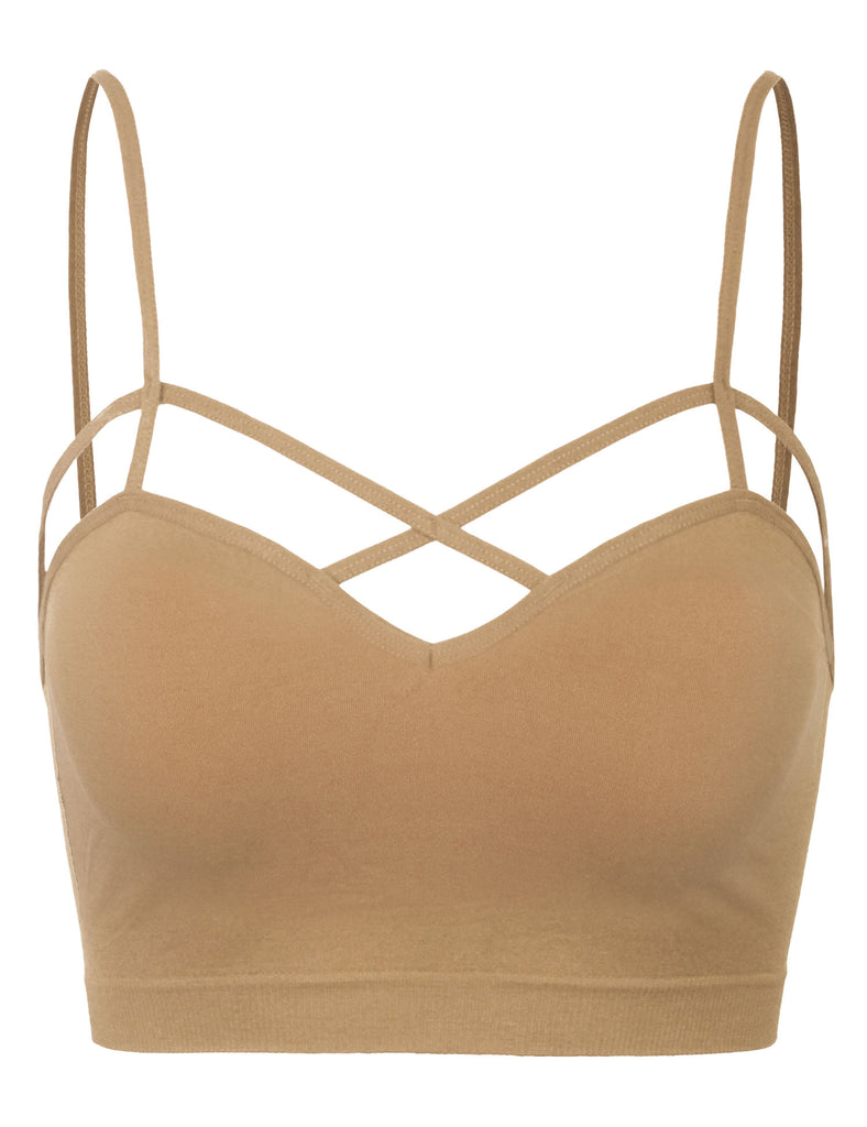 Women's Seamless Criss-Cross Front Bralette with Removable Bra Pads