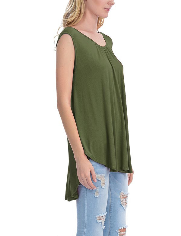 Solid Short Sleeve Tunic Top with Open Back Spaghetti Strap Tie