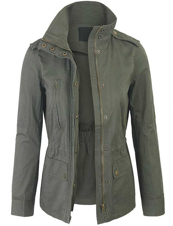 Zip Up Military Anorak Safari Jacket Coat