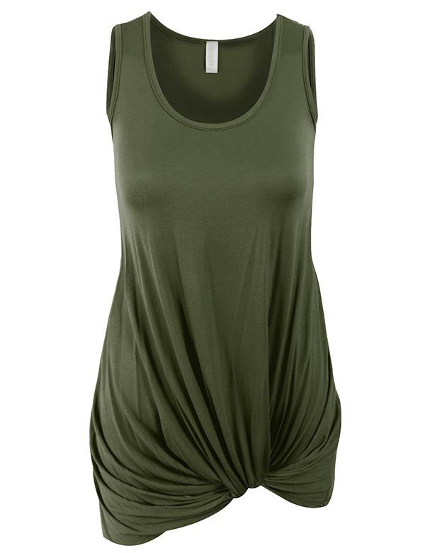 Sleeveless Tank Tunic Top with Knot on Hemline