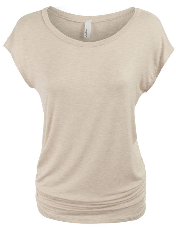 Short Sleeve Solid Basic Tunic Top Tee with Side Shirring