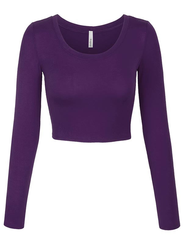 2c77663678314 Long Sleeve Basic Crop Top Round Neck With Stretch - KOGMO