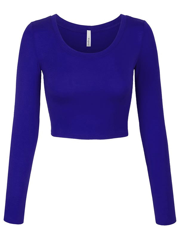 Long Sleeve Basic Crop Top Round Neck With Stretch