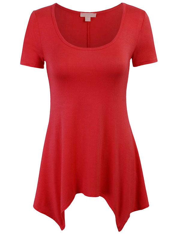 Unique Asymmetrical Hemline Tunic Short Sleeve Wide Scoop Neck Top