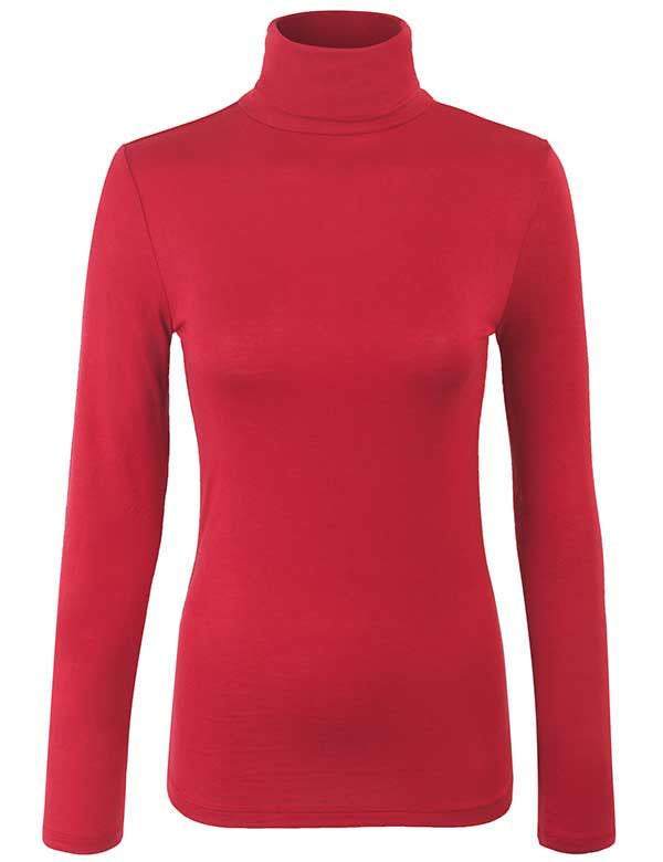 Turtleneck Long Sleeve Basic Solid Fitted Shirt with Stretch