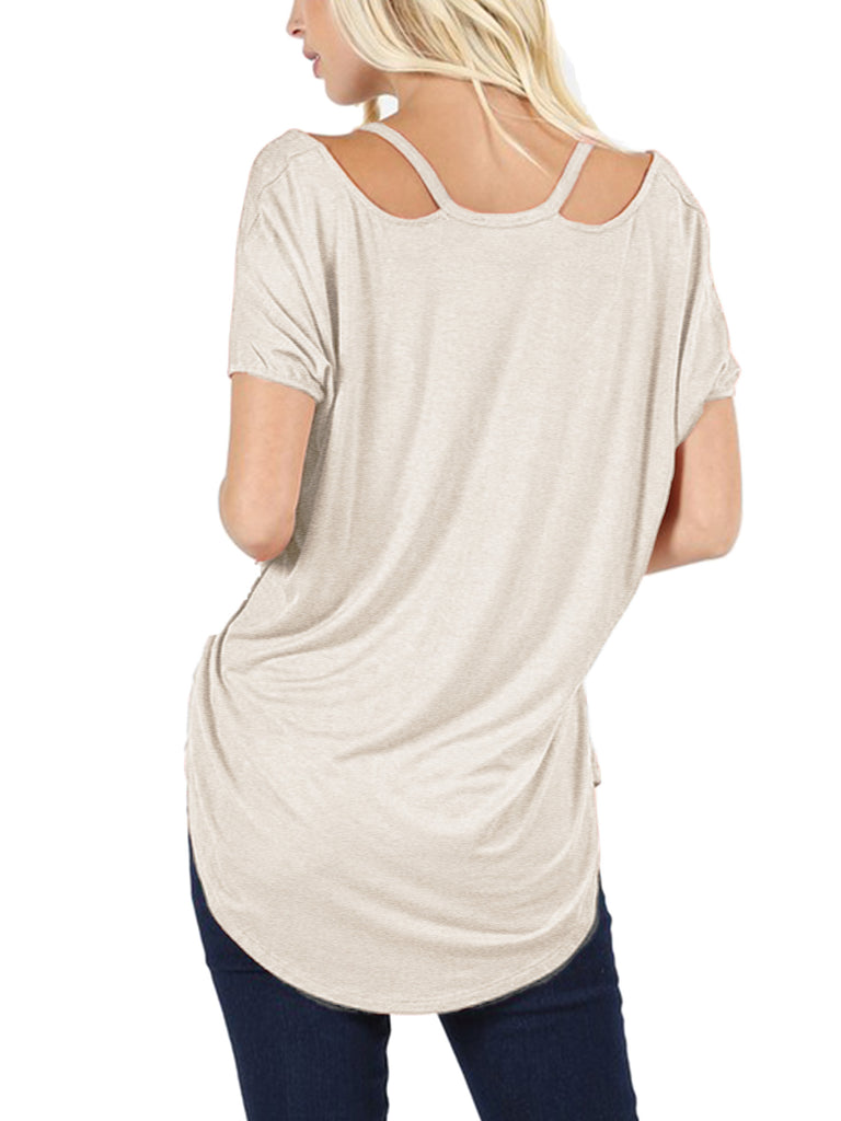 Womens Short Sleeve Dolman High Low Tunic Top with Cut Out Shoulder