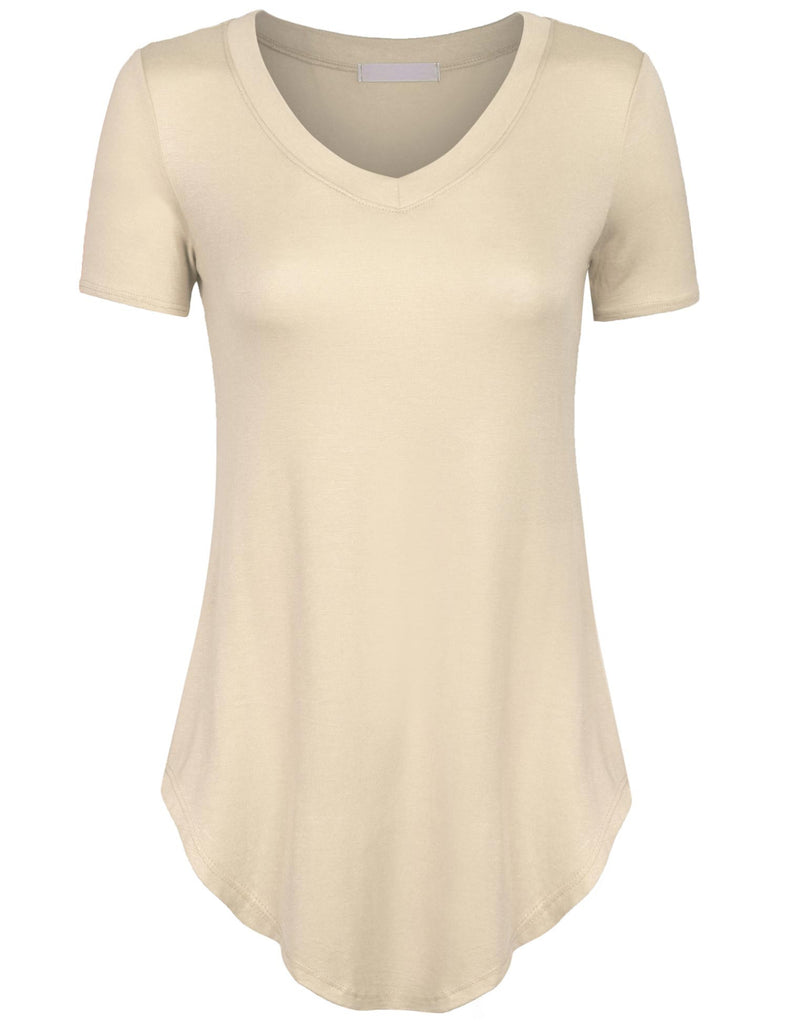 Short Sleeve Asymmetrical Hemline V Neck Tunic Top