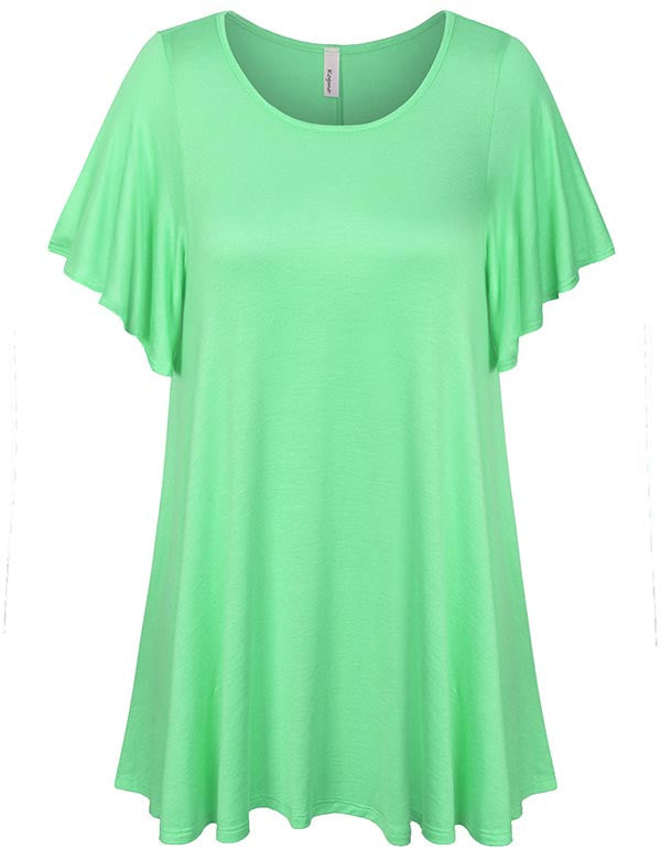 Solid Basic Loose Fit Tunic Top with Ruffle Sleeve (S-3X)