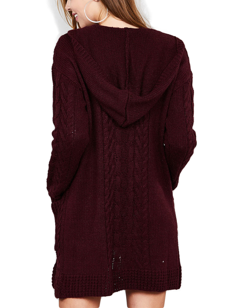KOGMO Womens Cable Knit Long Cardigan with Hoodie & Pockets