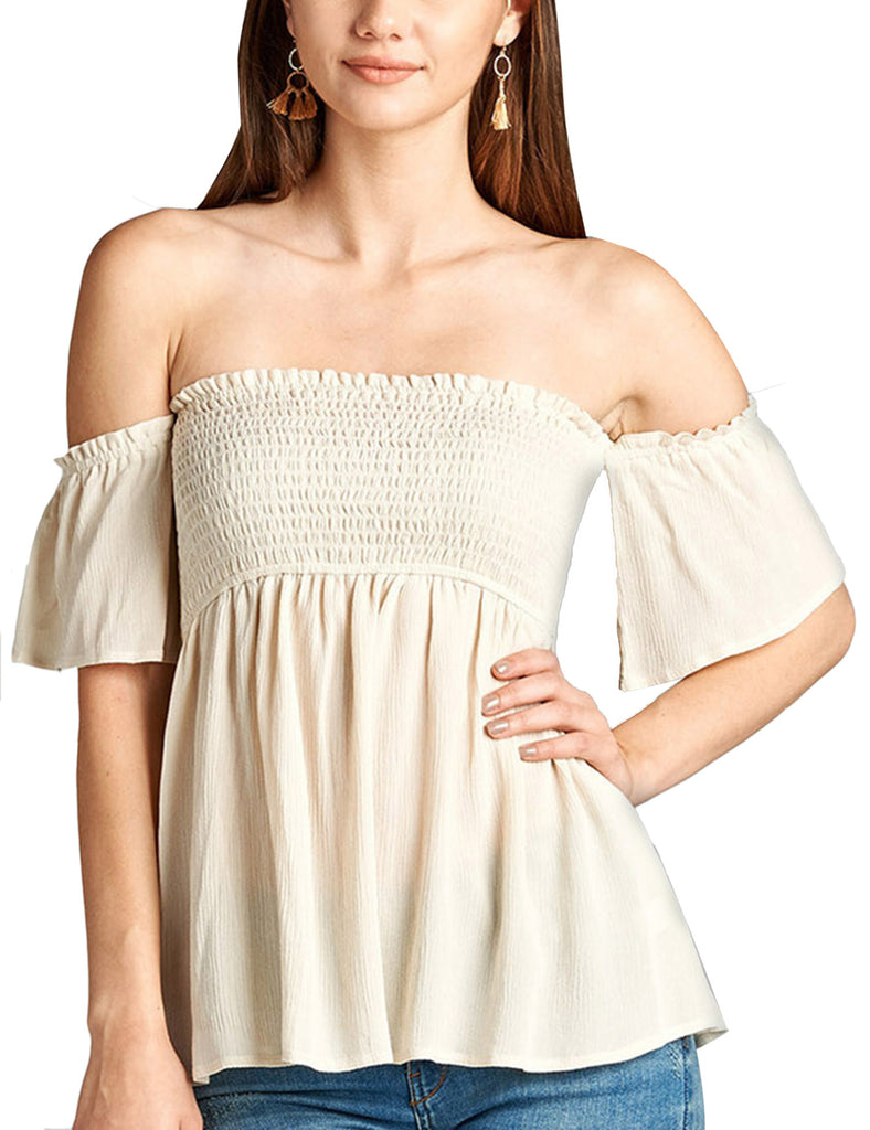 Womens Smocking Rayon Off the Shoulder Top