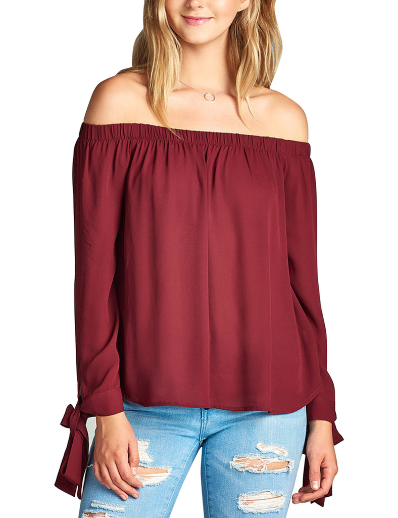 Womens Long Sleeve Tie Detail off the Shoulder Wool Dobby Top