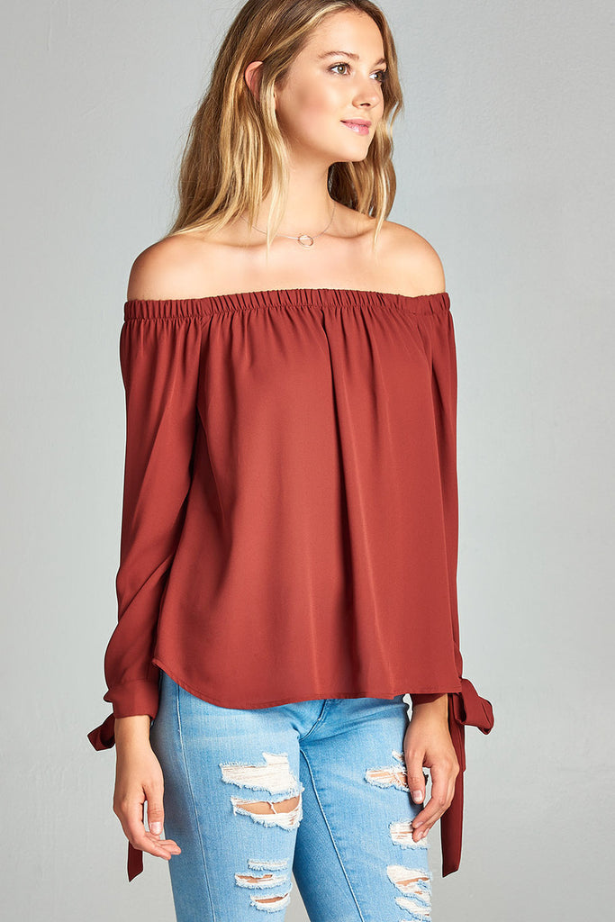 [Clearance] Womens Long Sleeve Tie Detail off the Shoulder Wool Dobby Top