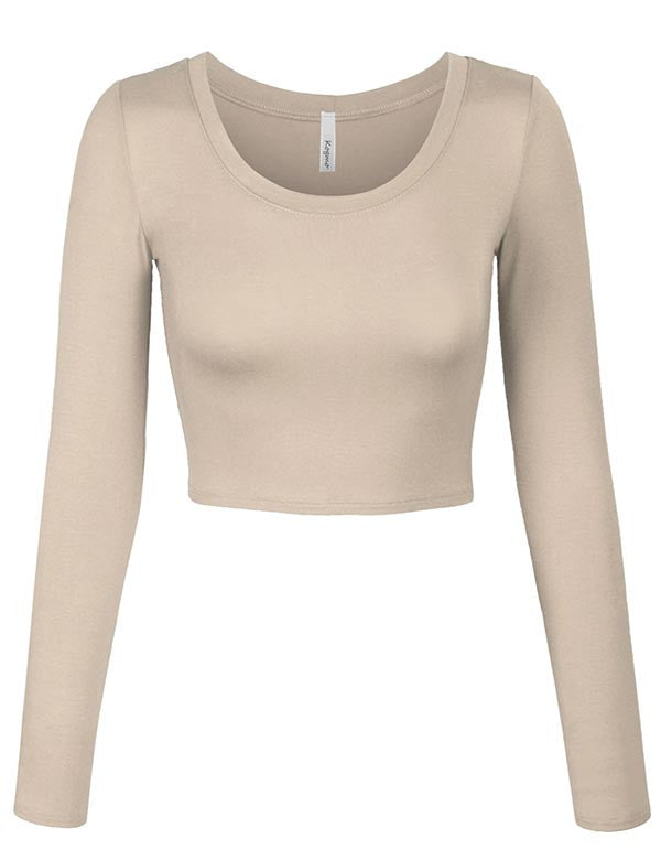 2959e830 ... Long Sleeve Basic Crop Top Round Neck With Stretch ...